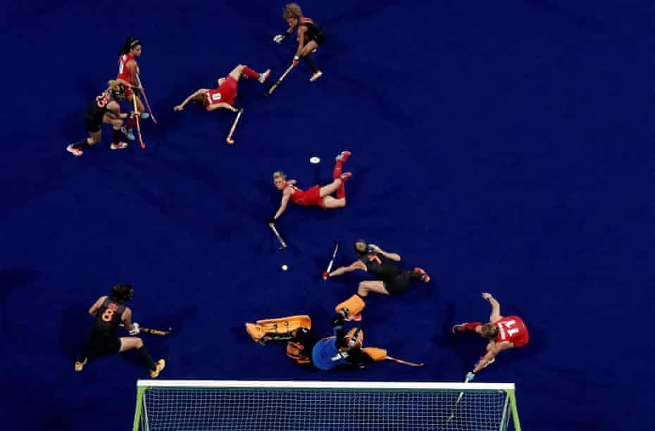 Alex Danson (centre) dives to score during the 2016 final – she took over as captain after Rio but has since retired with a concussion-related injury.