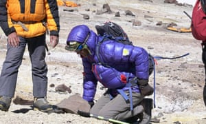 Ranulph Fiennes makes his way down Aconcagua in the Andes after being struck down with a bad back.
