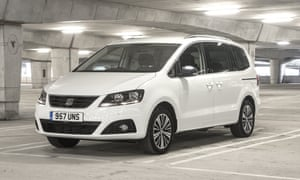 Seat Alhambra MPV white parked in a car park