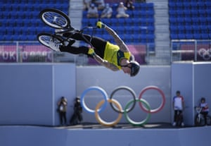 Logan Martin of Australia makes a jump during a BMX freestyle training session