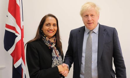 Johnson posed for a picture shaking hands with Brent north Tory candidate, Anjana Patel, who has been allowed to stand for the party despite Conservative HQ knowing she had sent an anti-Muslim tweet.