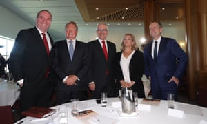 "Andrew ""Twiggy"" Forrest, Nicola Forrest, the prime minister, Malcolm Turnbull, the deputy PM, Barnaby Joyce, and the opposition leader, Bill Shorten"