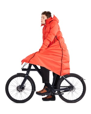 Dutch brand Maium offers a cycle-friendly style that unzips at the side, transforming the puffer into a poncho that will keep your handlebars and you dry as you ride. £345, maium.nl