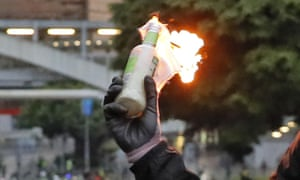 A molotov cocktail, held by a protester in Hong Kong.