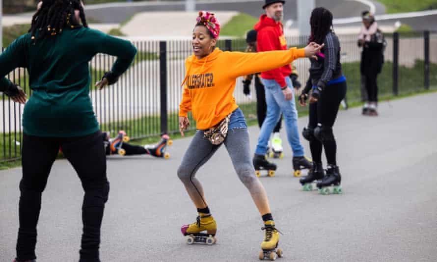 Roller skaters in Burgess Park