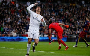 Real Madrid's Cristiano Ronaldo looks dejected after missing a chance to score.