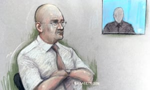 Court artist sketch of Bob Higgins watching a witness interview