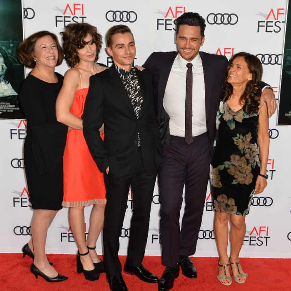 Family business: Brie (in red dress) with, from left, her mother Joanne, husband Dave Franco, his brother James Franco and their mother Betsy Franco Feeney at the 2017 premiere for the Disaster Artist.