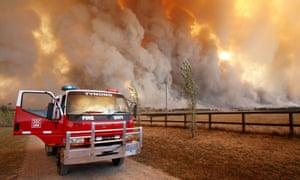 A fire raging in the Bunyip state park near Labertouche in Australia.