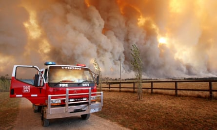 A fire raging in the Bunyip state park near Labertouche in Australia.