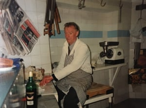 Frank Fisher in his butcher's shop in Dronfield, circa 1980s.
