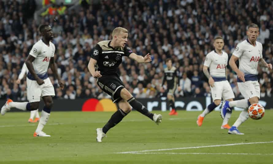 Ajax's Donny van de Beek scores the only goal 15 minutes into their Champions League semi-final at Tottenham.