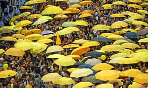 Protesters gather to mark the first anniversary of the start of the Umbrella Movement