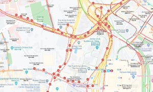 A screengrab from Google Maps showing road closures around Hong Kong's Polytechnic University on Monday.