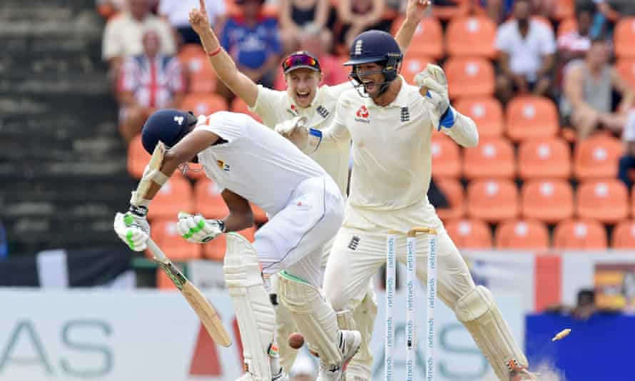 Joe Root celebrates with Ben Foakes as Sri Lanka captain Suranga Lakmal falls on the final morning of the second Test.