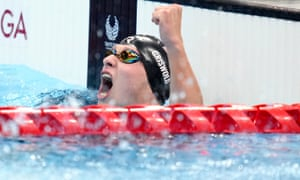 USA's Robert Griswold celebrates after winning the men's 100 metres backstroke S8 final in a world record time.