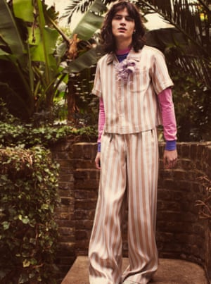 Shirt, £75, flares, £150, and T-shirt, £40, by Topman Design. Silk corsage, from £68, by Basia Zarzycka.