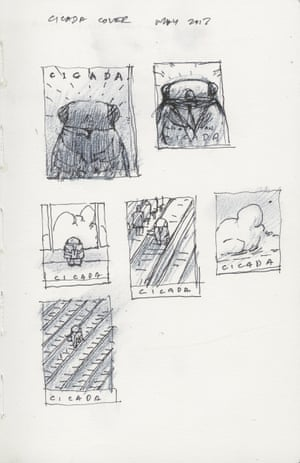 Tan's sketches for the cover of Cicada