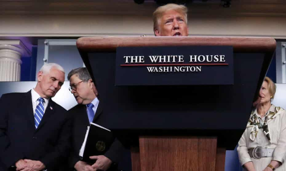 Donald Trump speaks during a coronavirus taskforce briefing at the White House in Washington DC, on 23 March.