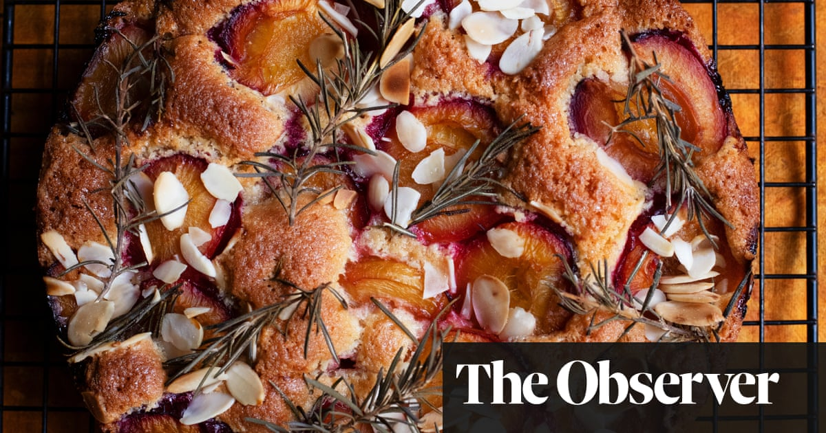 Nigel Slater's recipes for plum and rosemary cake, and baked aubergines