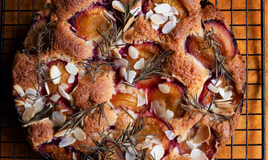'The plums I grow are wild, their variety a mystery, their flesh as sweet as maple syrup': Nigel Slater's plum and rosemary cake.