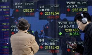 An electronic stock indicator of a securities firm in Tokyo, today, as shares climbed in Japan.
