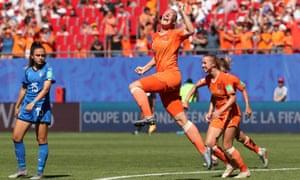 Stefanie van der Gragt celebrates scoring the Netherlands' second goal in their quarter-final against Italy
