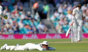 Australia's Steve Smith reacts after dropping England captain Joe Root for the second time.