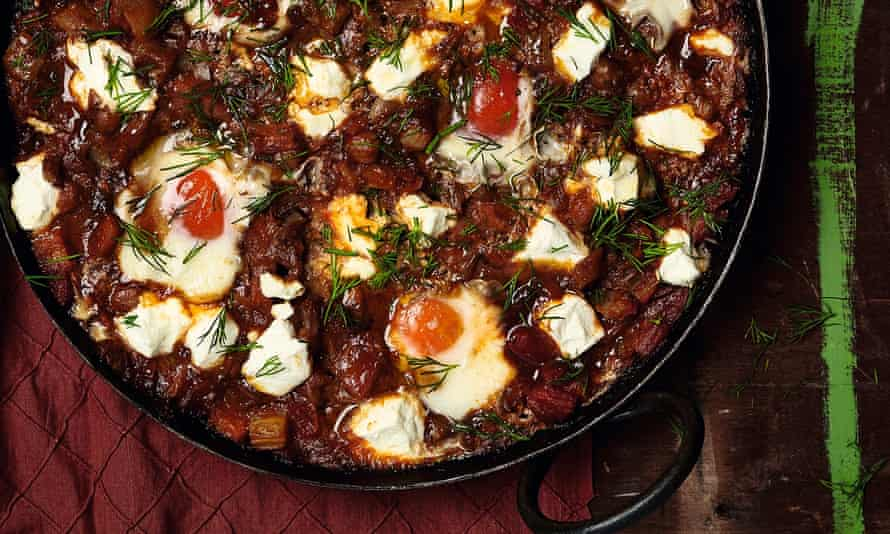 Photograph of Yotam Ottolenghi's eggs with chickpeas, tomato and Pernod