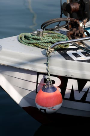 Detail of buoy hanging from boat