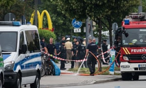 The scene outside the McDonald's in Munich where the gunman opened fire shortly before 6pm local time.