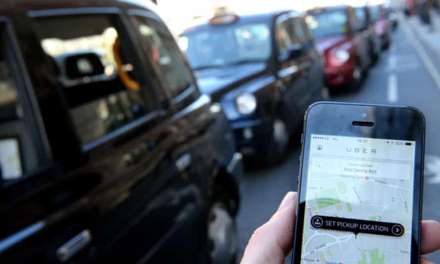 London black-cab drivers protest against Uber in September 2015