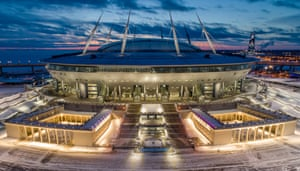 An aerial view of the new stadium on Krestovsky Island in St Petersburg.