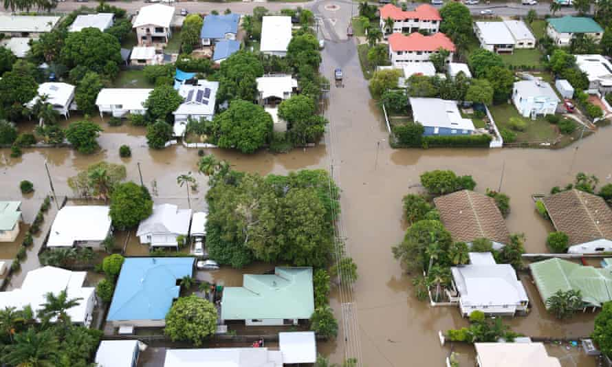 A townsville suburb inundated with water during the floods