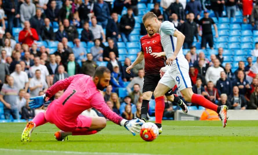 England's Jamie Vardy sees his effort saved by  the Turkish goalkeeper Volkan Babacan