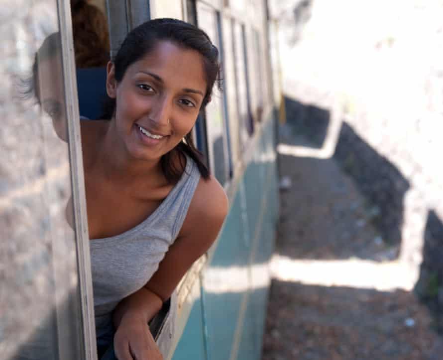 The writer aboard the Himalayan Queen on the Shimla-Kalka railway.