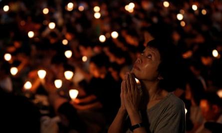 A candlelit vigil to mark the anniversary of Tiananmen Square at Victoria Park, Hong Kong.