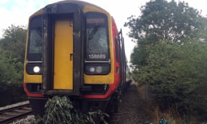 A train hit a tree on the line just outside Lincoln on Saturday