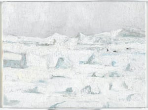 Penguins on iceflow, 27/10/2013, oil on canvas board, 30.5 x 40.5.