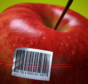 Bar code bandits: supermarkets like the machines because they can hire fewer staff, and it's tricky for them to prosecute thieves without driving away absent-minded customers.