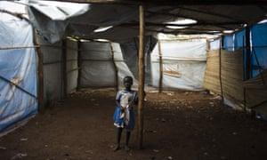 A South Sudanese child at the Bidibidi refugee camp  in Imvepi, Uganda