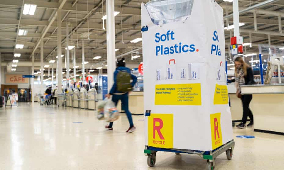 A new 'soft plastics' recycling point, for items such as bread bags and crisp packets, in a Tesco store in London.