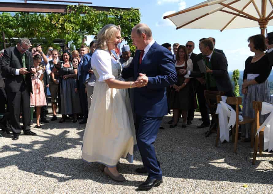 Karin Kneissl dances with Vladimir Putin
