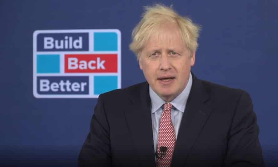 Prime Minister Boris Johnson delivers his address to the virtual Conservative Party Conference