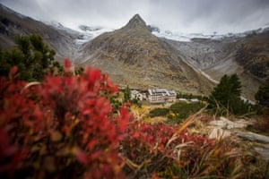Ginzling, AustriaThe Waxeggkees glacier is seen above the Berliner hut in the Zillertal Alps during an autumn day