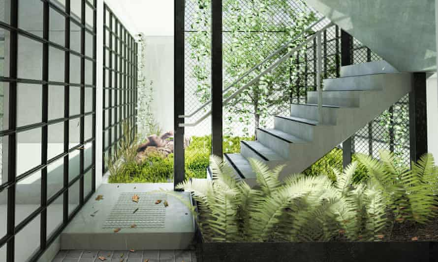 The courtyard for Nightingale 1, a Breathe Architecture project in Melbourne