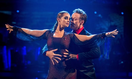 With her dance partner Kevin Clifton on Strictly Come Dancing in 2016