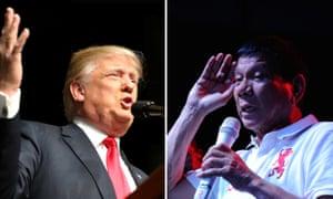 A composite showing Republican presidential candidate Donald Trump and Rodrigo Duterte