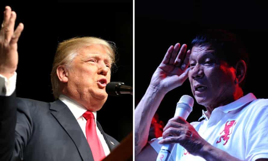 Republican presidential candidate Donald Trump (L) and Filipino lawyer and politician Rodrigo Duterte (R)