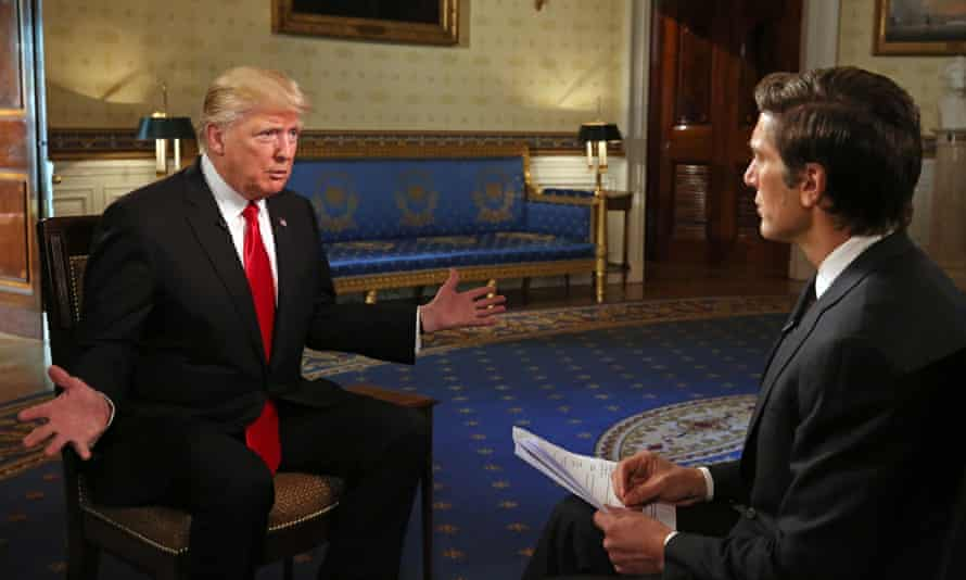 Donald Trump in his first one-on-one television interview since being sworn in as president.
